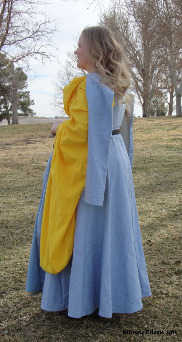 Blue Herringbone Irish Dress - Quarter Back View, by Sidney Eileen