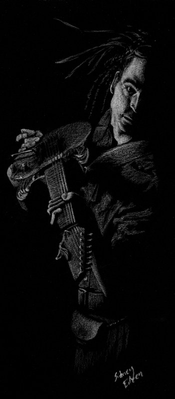 Title: Show Off - Nathaniel Johnstone, Artist: Sidney Eileen, Medium: white pencil on black paper