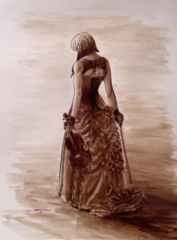 Title: Requiem, Artist: Sidney Eileen, Medium: ink on watercolor paper