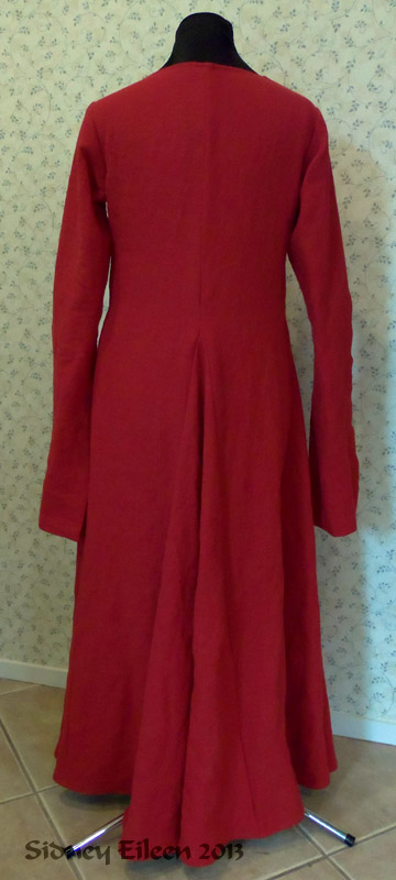 Red Linen Front Lace Kirtle with Dangle Sleeves - Back View