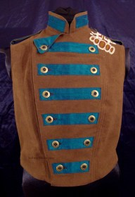 Colorful Violin Vest Final - Brown Side - Closed and Dogeared