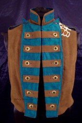 Colorful Violin Vest Final - Brown Side - Open, Buttoned Neat