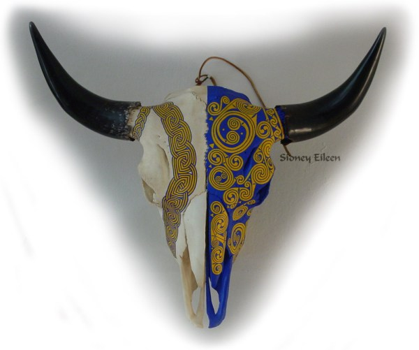 Title: Bison Skull, Artist: Sidney Eileen, Medium: acrylic paint on bison skull