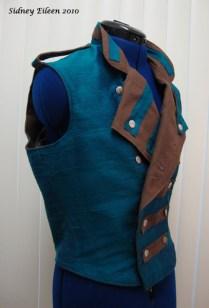Colorful Violin Vest Prototype - Blue Side - Quarter Front, Folded Open
