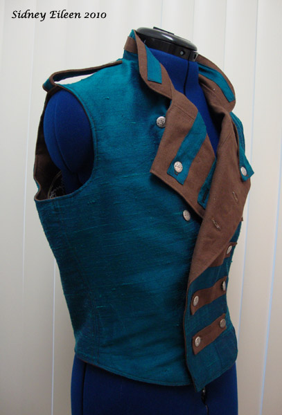 Colorful Violin Vest Prototype - Blue Side - Quarter Front, Folded Open