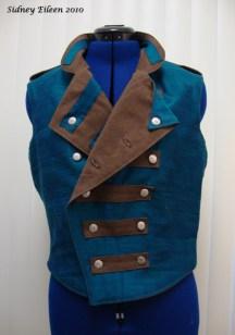 Colorful Violin Vest Prototype - Blue Side - Front Folded Open