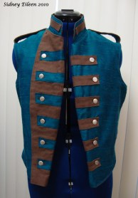 Colorful Violin Vest Prototype - Blue Side - Front Open and Folded