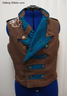 Colorful Violin Vest Prototype - Brown Side - Front Alternate Folded Open