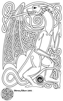 Title: Knotwork Dragon, Artist: Sidney Eileen, Medium: pen on paper
