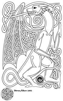 Title: Knotwork Dragon, Artist: Sidney Eileen, Medium: pen on paper