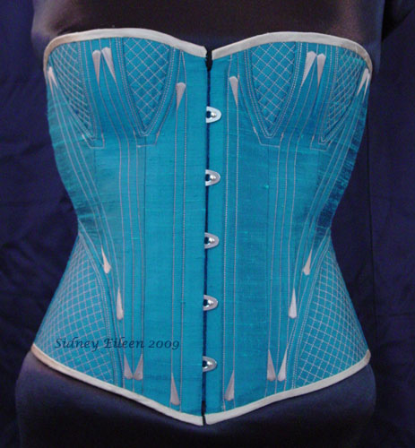Quilted and Flossed Silk Overbust - Front View, by Sidney Eileen