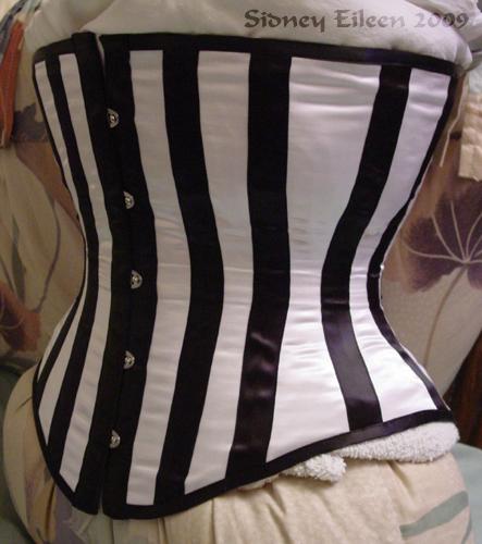 Satin Underbust Corset With Black Boning Embellishments, Seamstress: Sidney Eileen