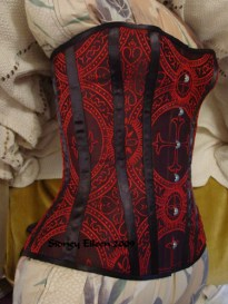 Gothic Brocade Overbust - Quarter Front View, by Sidney Eileen