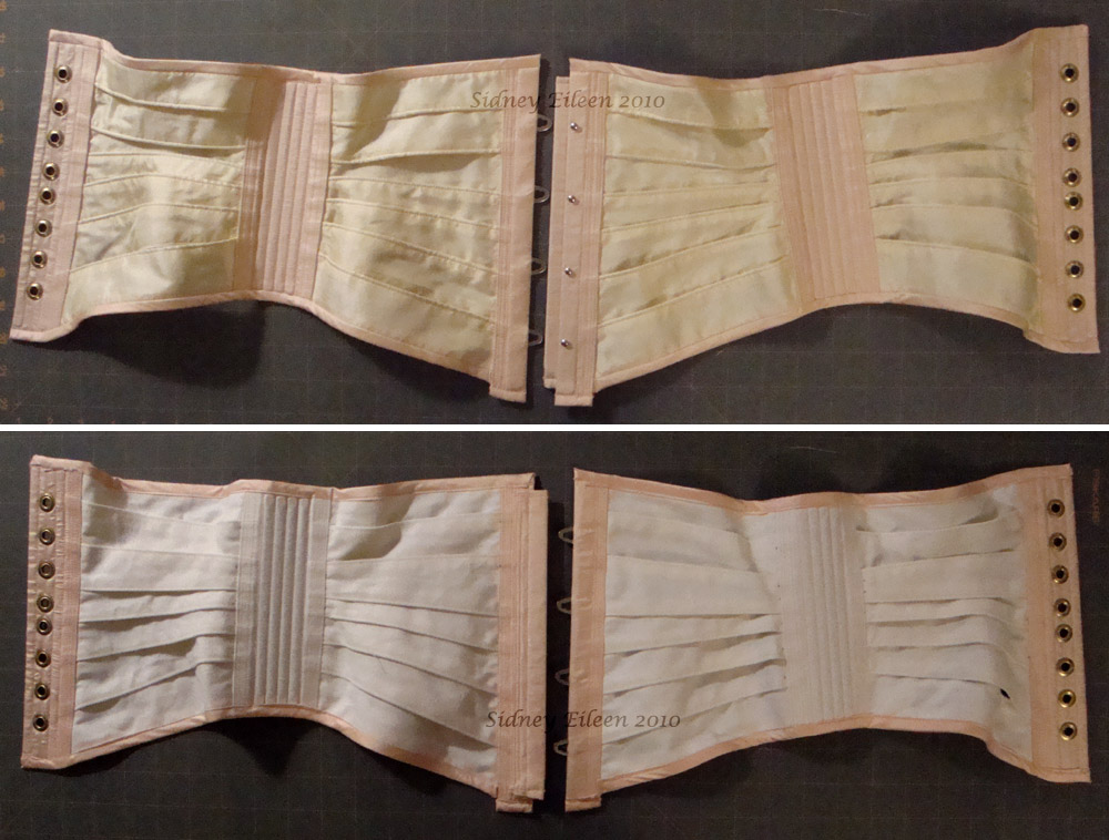 Pink and Cream Fabric Ribbon Corset - Flat, Without Bow, by Sidney Eileen