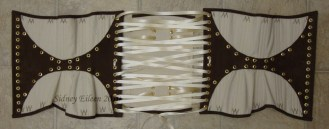 Leather and Coutil Grommeted Underbust - Open, Outside View, by Sidney Eileen