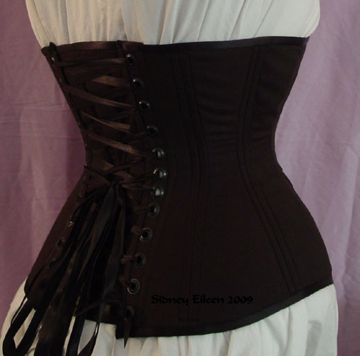 Plain Black Underbust - Quarter Back View, by Sidney Eileen