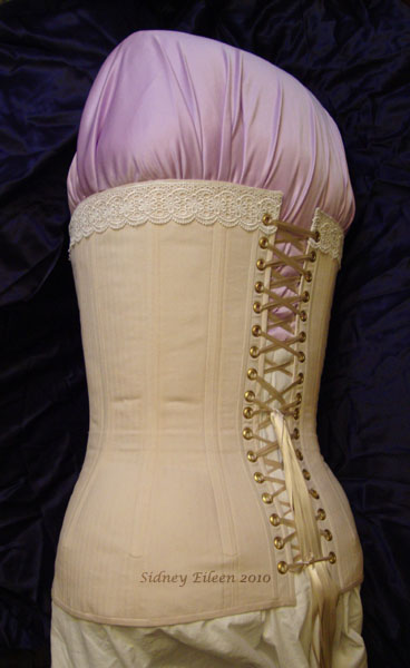 Plus-Sized Edwardian Long Line Overbust - Quarter Back View, by Sidney Eileen