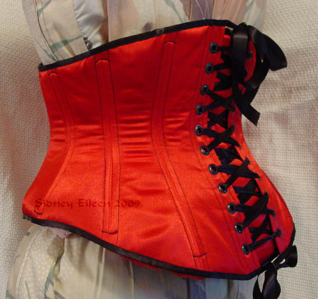 Reversible Waist Cincher - Red Side - Quarter Back View, by Sidney Eileen