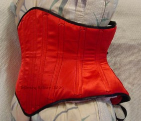 Reversible Waist Cincher - Red Side - Quarter Front View, by Sidney Eileen