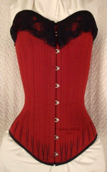 Red Silk Overbust with Black Flossing - Front View, by Sidney Eileen
