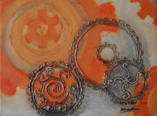 Title: Greasy Gears, Artist: Sidney Eileen, Medium: impasto acrylic on canvas