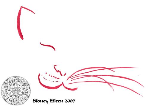 Title: Min. Cat Face, Artist: Sidney Eileen, Medium: brush marker on paper