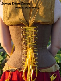 Brown Silk Steampunk Overbust - Back View, by Sidney Eileen