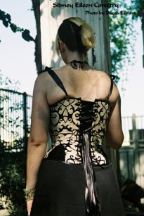Linen and Velvet Merry Widow - Back View, by Sidney Eileen
