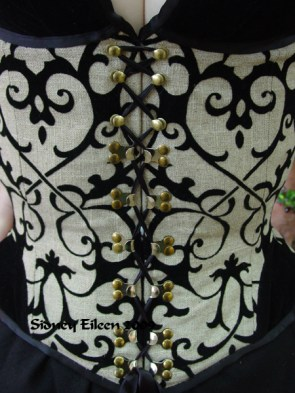 Linen and Velvet Merry Widow - Front Closure Detail, by Sidney Eileen
