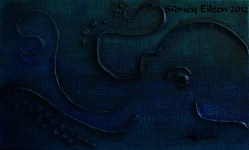Title: Octopus Miniature Minimalist Painting 2, Artist: Sidney Eileen, Medium: impasto acrylic on canvas