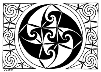 Title: Pinwheel ACEO, Artist: Sidney Eileen, Medium: pen on paper