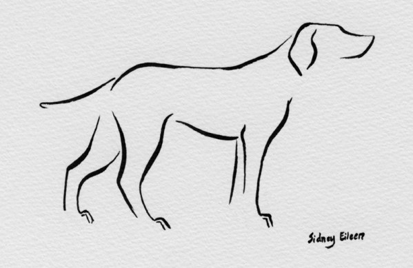 Title: Min Dog - At Attention, Artist: Sidney Eileen, Medium: brush marker on paper