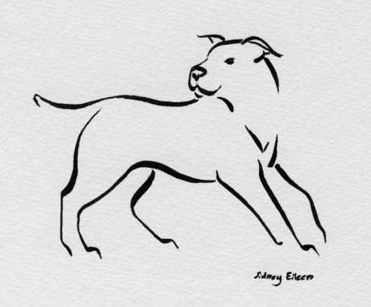 Title: Min Dog - What's That?, Artist: Sidney Eileen, Medium: brush marker on paper