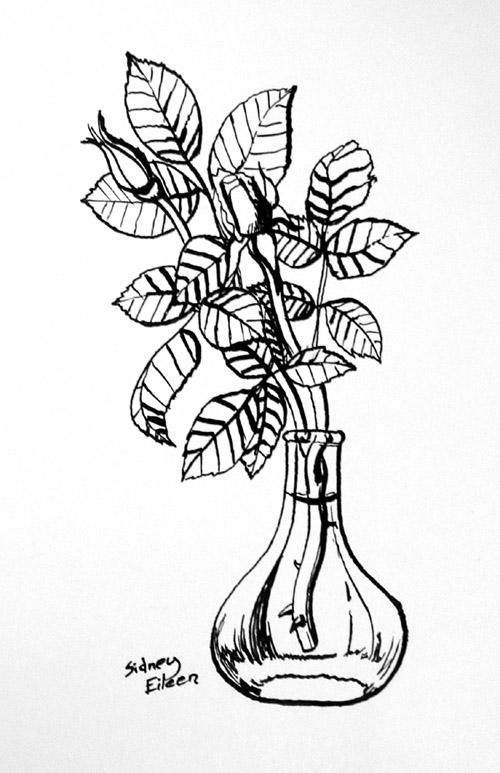 Title: Rose Buds - Bamboo, Artist: Sidney Eileen, Medium: ink on paper