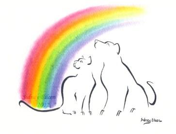 Title: Pawsitive Memories - Logo, Artist: Sidney Eileen, Medium: watercolors on watercolor paper