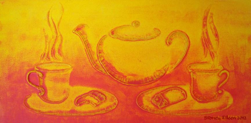 Title: Strawberries and Cream, Artist: Sidney Eileen, Medium: impasto acrylic on canvas