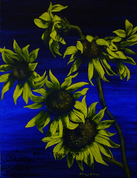 Title: Sunflowers at Midnight, Artist: Sidney Eileen, Medium: oils on canvas board
