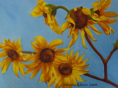 Title: Sunflowers in Daylight, Artist: Sidney Eileen, Medium: oils on canvas board