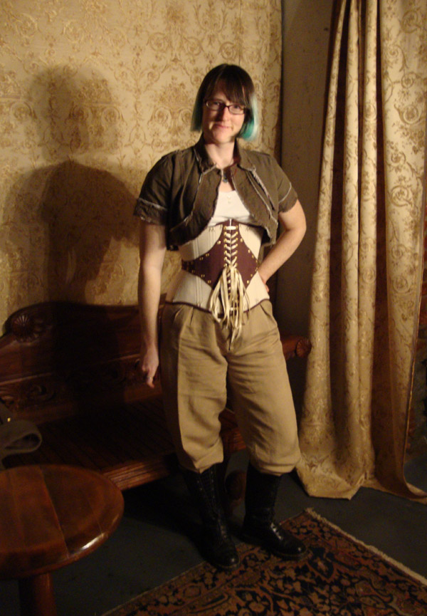 Leather and Coutil Grommeted Underbust - Villains Meeting, by Sidney Eileen