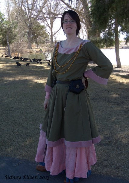 Garment: Green Tunic Dress with Pink Trim, Seamstress: Sidney Eileen