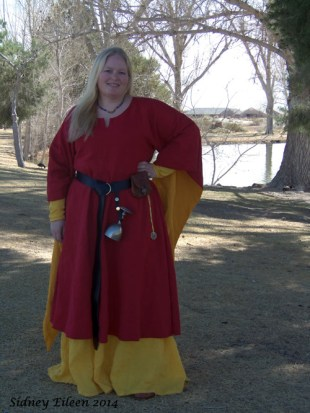 Garment: Red and Yellow Angel Sleeve Tunic Dress - Front, Seamstress: Sidney Eileen