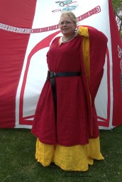 Garment: Red and Yellow Angel Sleeve Tunic Dress - Front1, Seamstress: Sidney Eileen