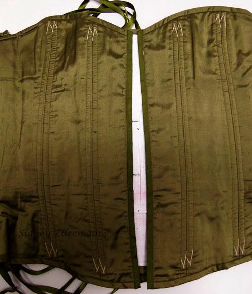 Drab Green Silk Overbust Corset - Busk Repair In Progress; Corset by Sidney Eileen