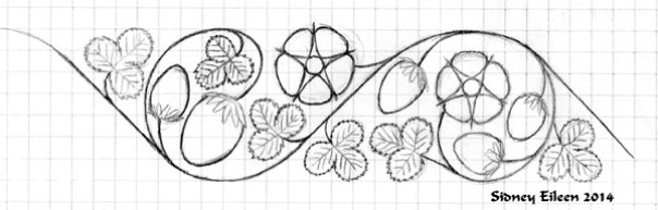 This is a floral strawberry roundel band embroidery pattern, inspired by Elizabethan English blackwork designs. It is freely available for anyone to use, but please give credit to Sidney Eileen if you share or post it online.