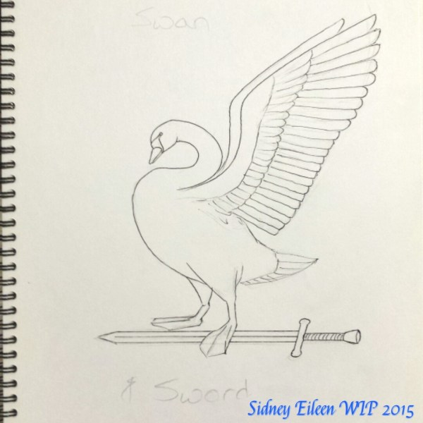 Swan and Sword - Sketch, by Sidney Eileen, sign banner design for Talon Crescent Wars, SCA.
