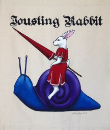Jousting Rabbit Sign Banner, by Sidney Eileen, acrylic paint on raw cotton canvas, for Talon Crescent Wars, SCA.
