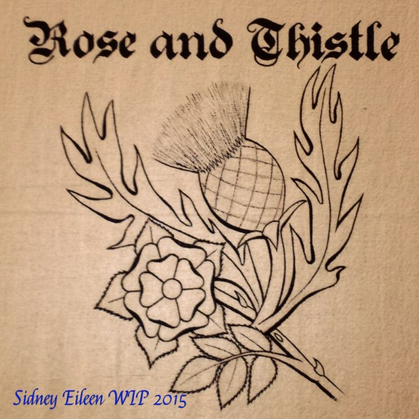 Rose and Thistle Sign Banner WIP2, by Sidney Eileen, acrylic paint on raw cotton canvas, for Talon Crescent Wars, SCA.