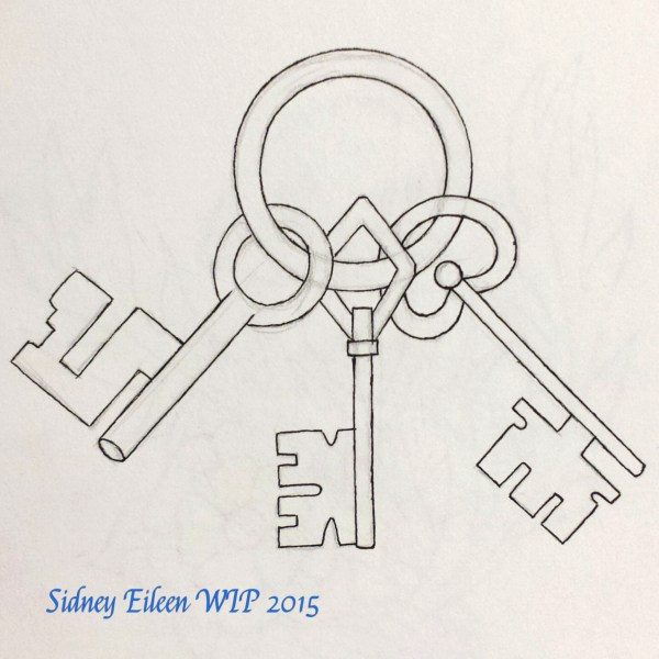 Three Keys Concept Sketch, by Sidney Eileen, for Talon Crescent Wars, SCA.