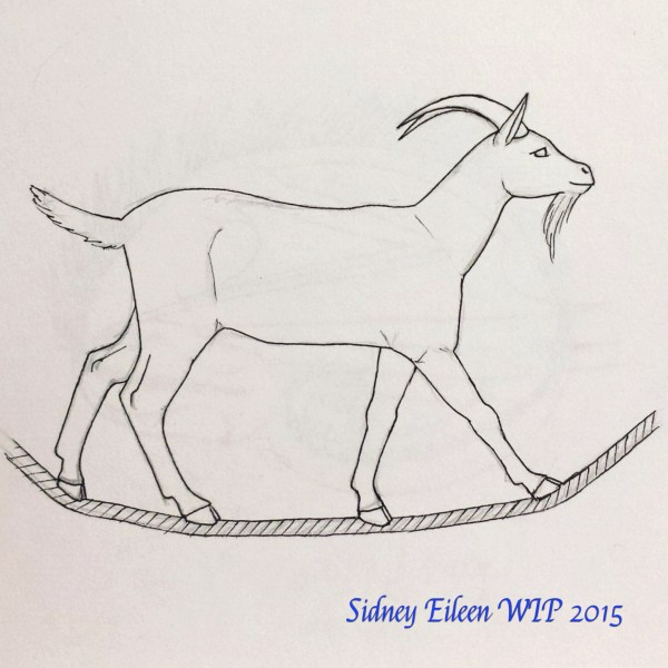 Goat on a Rope Concept Sketch, by Sidney Eileen, for Talon Crescent Wars, SCA.