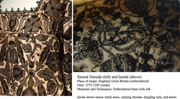 Smock; V&A Collections, detail of freehand blackwork embroidery with counted fill patterns, http://collections.vam.ac.uk/item/O78732/smock-unknown/